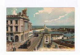 Alger. Le Boulevard De La République. Tramways. Port. Publicité Imprimerie Jourdan. (28 - Alger