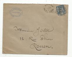Lettre ,1895 , ELBEUF , ROUEN , G. Fessard , Notaire , 3 Scans - Storia Postale