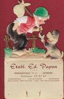 Oude Reclame Etablissement Ed. Papen Margravestraat Markgravelei Antwerpen Papierwaren Kalender Agenda Gaufree - Calendriers