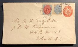 Saint THOMAS Iles Vierges Americaine Entier Enveloppe 3 Cents Rose +n°6, 7 Pour Colon - Timbres