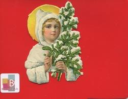 Chromo Découpis Gaufré Enfant Sapin Neige 9 Cm X 7 Cm NOEL - Motiv 'Weihnachten'