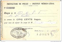 ORNE 61 -  CACHET INSTITUT MEDICOL LEGAL PREFECTURE DE POLICE -  RECU  -  1951 - 1950 - ...