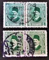 ROYAUME - ROI FOUAD 1ER 1923/24 - 2 ¨PAIRES OBLITEREES - YT 121 - VARIETES DE TEINTES ET D'OBLITERATIONS - Egypt