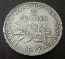 France - Monnaie 2 Francs Semeuse 1917 En Argent - SUP - France