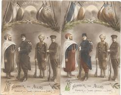 Patriotique : 2 Cartes Différentes HONNEUR AUX ALLIES, SOLDATS AFRIQUE Et Des INDES - VERS LA VICTOIRE -Couleur Et Cépia - Patriotiques