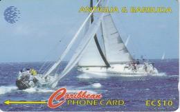 TARJETA DE ANTIGUA Y BARBUDA DE UNOS VELEROS 239CATA (rozada) - Antigua And Barbuda
