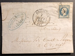 1853- 1860 Napoléon III N°15a Sur LAC De Briancon Type 13 RR ! Pour Marseille Oblitéré PC 520 - 1853-1860 Napoleon III