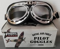 Lunettes Aviateur ROYAL AIR FORCE Chromées ( Moto Biker Vespa Raf Retro Vintage Goggles RAF ) - Aviation