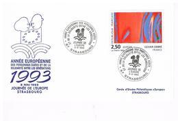 Strasbourg Europa Année Européenne Des Personnes Agées Et De La Solidarité Entre Les Générations 5.5.1993   Premier Jour - Alsace-Lorraine