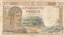 H138 - Billet 50 Francs Céres 1939 - 1871-1952 Gedurende De XXste In Omloop