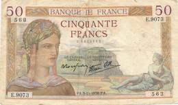 H138 - Billet 50 Francs Céres 1938 - 1871-1952 Gedurende De XXste In Omloop