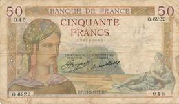 H138 - Billet 50 Francs Céres 1937 - 1871-1952 Gedurende De XXste In Omloop
