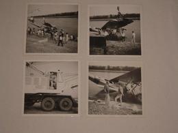 Joli Lot De 4 Photos 1960s Accident D'un Avion De La Protection Civile - Camion Grue Nordest &c - 9x9 Cm. - Snapshot - Aviation