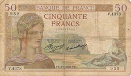 H138 - Billet 50 Francs Céres 1936 - 1871-1952 Gedurende De XXste In Omloop