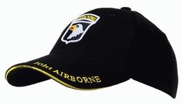 Casquette Noire AIRBORNE 101st SCREAMING EAGLES JEEP CAP US VO MILITARIA US Luxe - Headpieces, Headdresses
