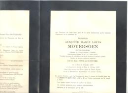 """Faire-part Décès De Mr Auguste MOYERSOEN , Notaire, Adm. """" Eigen Haard """" - AALST 1879  / 1947  (b228) - Overlijden"""