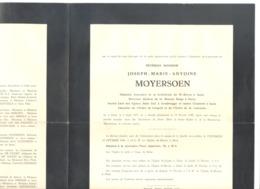 Faire-part Décès Du Révérend Joseph MOYERSOEN ,Chanoine, Curé à Gent, Gendbrugge -  - AALST 1875  / 1944  (b228) - Overlijden