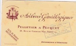 Pelletier & Pecquet, Archives Généalogiques, Recherche D'héritiers, Paris - Buvards, Protège-cahiers Illustrés
