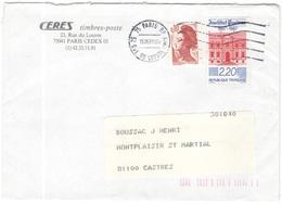 FRANCIA - France - 1991 - 2,20 Institut Pasteur + 0,10 Liberté De Gandon - Viaggiata Da Paris Per Castres - Storia Postale