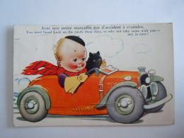 Illustration Auto Chat Noir Zwarte Kat Avec Une Petite Mascotte, Pas D'accident à Craindre You Need Good Luck K 555 - Humorous Cards