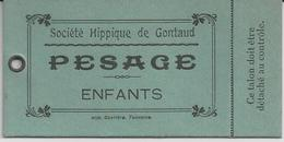 GONTAUD SOCIETE HIPPIQUE DE GONTAUD TICKET CARTONNER DE PESAGE ENFANTS - France