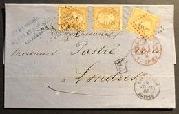 1862 Napoléon III N°21 X2 Plus 23 Sur Petite LAC D'Alexandrie Pour Londres GC 5080  Tres Frais - 1862 Napoleon III