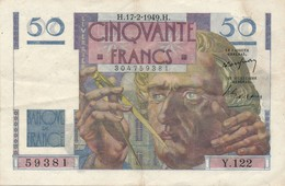 H139 - Billet 50 Francs Type Le Verrier 1949 - 1871-1952 Circulated During XXth