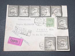 POLOGNE - Enveloppe En Recommandé Exprès De Lwöw Pour Paris En 1935 , Affranchissement Plaisant - L 16863 - 1919-1939 Republik
