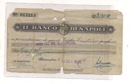 2136) Assegno Vaglia Cartamoneta Banco Di Napoli 1925 - Monete & Banconote