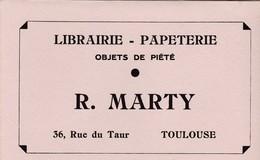 MARTY / LIBRAIRIE PAPETERIE /  OBJETS DE PIETE / TOULOUSE / 36 RUE DU TAUR / RARE - Buvards, Protège-cahiers Illustrés