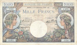 H140 - Billet 1000 Francs Type Commerce Et Industrie 1940 - 1 000 F 1940-1944 ''Commerce Et Industrie''