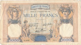 H140 - Billet 1000 Francs Type Céres Et Mercure 1938 - 1871-1952 Circulated During XXth
