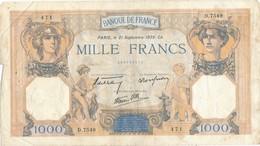 H140 - Billet 1000 Francs Type Céres Et Mercure 1939 - 1871-1952 Circulated During XXth