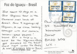 Brasil Brazil 2013 Foz De Iguazu Waterfall Postal Bank Viewcard - Brazilië