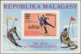 Malagasy 1975 Winter Olympics Imperf Souvenir Sheet Unmounted Mint. - Madagascar (1960-...)