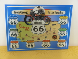 "Plaque Métal ""ROUTE 66"" From Chicago To Los Angeles - Plaques Publicitaires"