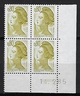"""FR Coins Datés YT 2241 """" Liberté 80c. Brun-olive """" Neuf** Du 14.2.85 - 1980-1989"""