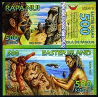 Easter Island, 500 Rongo, 2012, Polymer, New, UNC > Redesigned - Billets