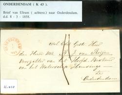 BRIEFOMSLAG Uit 1858 Gelopen Van LANGSTEMPEL ULRUM Naar ONDERDENDAM  (11.010) - 1852-1890 (Guillaume III)