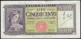 Italy 500 Lire 1947 *VF* Currency Banknote - [ 2] 1946-… : Républic