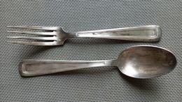 """Couverts Naissance - Petites Cuillères & Fourchettes Métal Argenté - 2 Poinçons """"60"""" + Orfèvre SF ? 18cm - Silverware"""