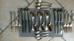 Couverts Pour 6 - Fourchette + Couteau + Cuillere Soupe + Café - Metal Alliages Blanc SFAM - Lame Acier - Poiçons - Silverware