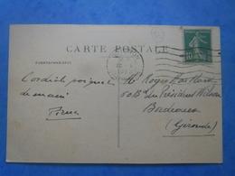 FRANCE Type Semeuse 10c Vert Sur CP Orange(84)  De 1923 , 2 Scans - Brieven En Documenten