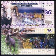 State Of Nevada - 36 State Dollars, 2016, UNC - Vegas Strip, Bighorn Sheep - Billets