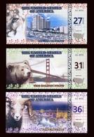 SET 27;31;36 State Dollars 2016 - 3 Note Set - Florida / California / Nevada - Billets