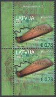 """LETONIA/ LATVIA/ LETTLAND/ LETTONIE -EUROPA 2014- TEMA """"INSTRUMENTOS MUSICALES NACIONALES""""- PAREJA VERTICAL B Del CARNET - 2014"""