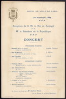 1905 Programme CONCERT Pour ROI De PORTUGAL En HOTEL DE VILLE France. CONCERTO Em Honra Rei D.Carlos A FRANÇA - Menus