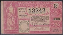 LOT-227 CUBA REPUBLIC OLD LOTTERY SORTEO DE LOTERIA Nº 104 30/8/1912 - Lottery Tickets