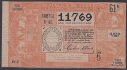 LOT-228 CUBA REPUBLIC OLD LOTTERY SORTEO DE LOTERIA Nº 105 10/9/1912 - Lottery Tickets