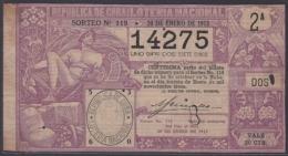 LOT-237 CUBA REPUBLIC OLD LOTTERY SORTEO DE LOTERIA Nº 119 30/01/1913 - Lottery Tickets